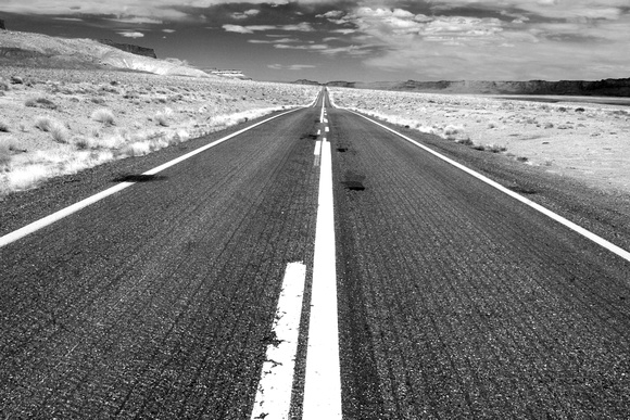 Lonely Black And White Lonely Road  near Page  AZ